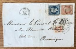 France N°14 Et 16 Sur Lettre De Strasbourg Pour La Nouvelle Orleans (USA) Par New-York - (B1505) - Marcophilie (Lettres)