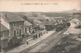 43 Le Chambon De Tence La Gare Locomotive à Vapeur Train Carte Animée , Chemin De Fer Ecrite En 1924 - Le Chambon-sur-Lignon