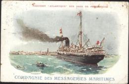 CPA Paquebot Atlantique Cie Messageries Maritimes CAD Maritime Octogonal Bordeaux à Buenos Ayres 1 LUN 4 - Marcophilie (Lettres)