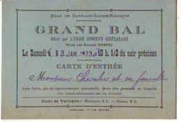 Ville De CONFLANS-SAINT-HONORINE - Grand Bal - Carte D'entrée (format 12 X 8 Cm) - Conflans Saint Honorine