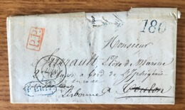 France, Lettre De Niort Pour Libonne (taxe 120 Bleue), P.P. Rouge (Navire Iphigénie) - (B1526) - 1801-1848: Vorläufer XIX