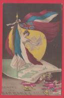 Cpa Illustrée -Guerre 1914 -1918_PATRIOTISME - DEHORS Les BARBARES ! - 2 SCANS - Guerre 1914-18