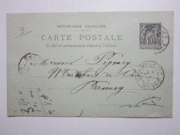 Carte Postale,Entier Postal Type SAGE 10cts Noir Oblitérée Champlemy & Prémery (58) 3/05/1898 Signé Lopard Louis - Entiers Postaux
