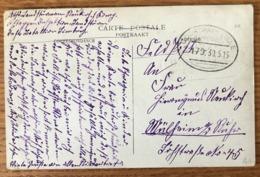 Carte Postal 30 Mai 1915 - Cachet Rare COURTRAI - LILLE BAHNPOST - (B1529) - Postmark Collection (Covers)