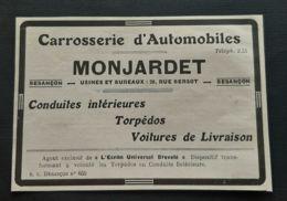 1928 MONJARDET CARROSSERIE AUTOMOBILES BESANCON TORPEDOS ECRAN UNIVERSEL VOITURE AUTO PUBLICITE 25 DOUBS - Reclame