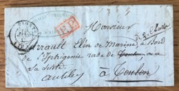 France, Lettre De Niort 1847, P.P. Rouge (Navire Iphigénie) - (B1533) - Poststempel (Briefe)