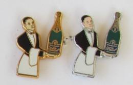 2 Pin's CHAMPAGNE DELOT 1 X NICKEL (031/500) Et 1 X DORé (066/500) Signé METAL DECOR - Boissons