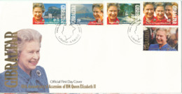 Gibraltar FDC 6-2-1992 40th Anniversary Of Accession Of HM Queen Elizabeth II Complete Set Of 5 With Cachet - Gibraltar