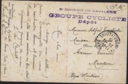 Guerre 14 Cachet 9e Division Cavalerie Groupe Cycliste Dépôt FM CAD 23 11 15 Joué Les Tours Indre Loire CPA Bonne Année - Storia Postale