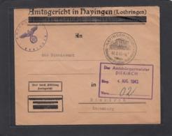 BRIEF VOM AMTSGERICHT IN HAYINGEN AN DAS STANDESAMT IN DIEKIRCH,LUXEMBURG. - Elsass-Lothringen
