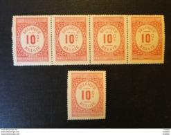 Belgique   5 Timbres Affiches De 10c - Fiscale Zegels