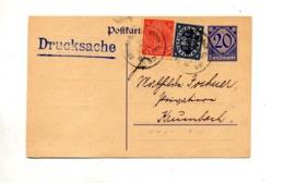 Carte Postale Chiffre Service + Timbre Cachet Krumbach - Germania