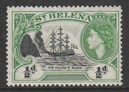 St Helena 1953 Queen Elizabeth II ½ PLight Green/black SW 131 ** MNH - Saint Helena Island