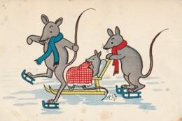 QU 9- SOURIS , RATS  EN PATINS AVEC SOURICEAU DANS TRAINEAU - ILLUSTRATEUR  T.J.B - 2 SCANS - Animales Vestidos