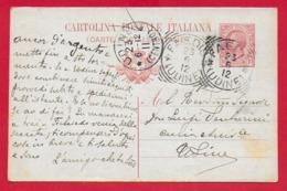 CARTOLINA POSTALE VG ITALIA - 1908 Tipo Leoni Indirizzo 4 Righe - 10 Cent. - U. CP 36 - 9 X 14 - 1912 FAEDIS UDINE - Interi Postali