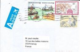 BELGIQUE   -   CHARLEROI   -  LETTRE PAR AVION   - 1988  -  POUR LA FRANCE   ARRIVEE A LARCAY FRANCE - Belgien