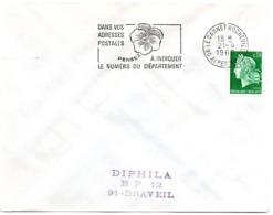 ALPES Mmes - Dépt N° 06 = LE CANNET ROCHEVILLE 1969 = FLAMME SECAP ' PENSEZ à INDIQUER NUMERO DEPARTEMENT ' - Postleitzahl