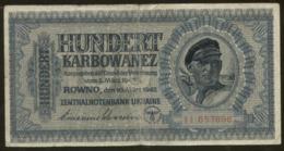 Ukraine 100 Karbovanez 1942 Pick 55 VG+ - Ucraina