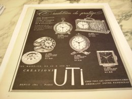 ANCIENNE PUBLICITE  TRADITION DE PRESTIGE CREATION UTI 1960 - Bijoux & Horlogerie
