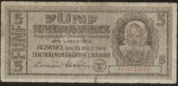 Ukraine 5 Karbovanez 1942 Pick 51 VG - Ucraina