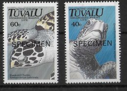 TUVALU - TORTUES !  YVERT 563 + 565 SURCHARGES SPECIMEN ** MNH - Tuvalu