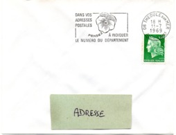 ALPES Mmes - Dépt N° 06 = THEOULE Sur MER 1969 = FLAMME SECAP ' PENSEZ à INDIQUER NUMERO DEPARTEMENT ' - Postleitzahl