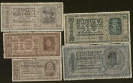 Ukraine Set 5 Pcs 5,10,20,50,100 Karbovwanez 1942 Pick 51,52,53,54,55 VG - Ucraina