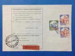 ITALIA CASTELLO 400 LIRE + COPPIA 1400 SU BOLLETTINO PACCHI DEL 1985 - 1981-90: Marcophilie