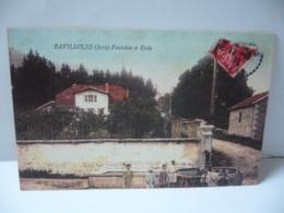 RAVILLOLES 39 JURA FRANCHE CONTE FONTAINE ET ECOLE  CPA 1913 - Autres Communes
