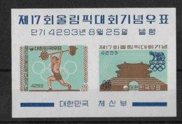 KOREA - JEUX OLYMPIQUES DE 1960 ! BLOC YVERT 29 ** MNH - COTE = 37.5 EUR. - Corée Du Sud