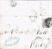 34372. Carta Entera BARCELONA 1870. Fechador Y Parrilla Numeral 2, Circulada A Malaga. Alegoria - 1870-72 Regencia