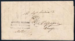 PREFILATELICA CON TIMBRO 4° REGGIMENTO GRANATIERI DI LOMBARDIA - SERVIZIO MILITARE - ANNULLO: RAVENNA 26.10.1869 - Italia