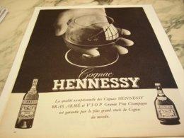 ANCIENNE  PUBLICITE COGNAC HENNESSY   1960 - Alcolici
