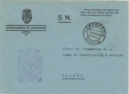 34374. Carta S.N. Franquicia Ayuntamiento CAMPRODON (Gerona) 1959. Fechador Camprodon - 1931-Hoy: 2ª República - ... Juan Carlos I