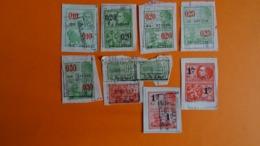 """BELGIQUE- TIMBRES FISCAUX - LOT 9 TIMBRES DIFFERENTS  Oblitérés """"1 à TOI Et 1 à MOI"""" Sauf 5F - Revenue Stamps"""