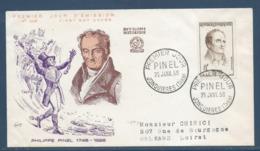 France - FDC - Premier Jour - Philippe Pinel - Jonquieres - 1958 - FDC