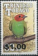 Trinidad And Tobago. 1990. Birds. Bay-headed Tanager (Overprint) (MNH OG) Stamp - Trindad & Tobago (1962-...)