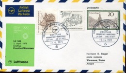 48555 Poland,  Special Cover 1971 For The First Flight Frankfurt Warschau  2.4.1971 - Airmail