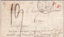 TREGUIER ( 21) : T. 14 + P.P. + Taxe Man. 19d. + P.F. - Lettre Pour Un Artiste Peintre Au Café Greco à Rome. - 1801-1848: Voorlopers XIX
