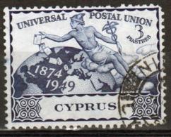 Cyprus Single 1949 Three Piastre Stamp From 75th Anniversary Of UPU Set. - Cyprus (Republic)