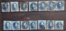 BELGIE  1861      14  X Nr. 11  (2)    Zie Foto   Gestempeld    CW 140,00 - 1858-1862 Medaillons (9/12)