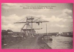 CPA  (Réf: Z 2399) FRANIÈRE (BELGIQUE) GLACERIE DE SAINT-GAUBIN Appareil Temperley Déchargement D'une Péniche - Belgique
