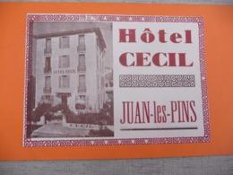 CV étiquette HOTEL CECIL JUAN LES PINS - Cartes De Visite
