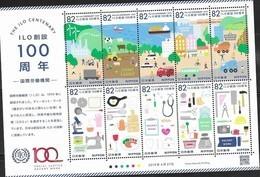 JAPAN, 2019, MNH,ILO, DECENT WORK, TRAINS, SHIPS, FOOD, COWS, SHEEP, SCIENCES, PROFESSIONS, JOBS, SHEETLET - ILO