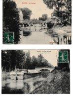 Aube PAYNS 2 Cartes: Le Vannage. Le Pont Du Canal Au Passage D'un Bateau (peniche) - Other Municipalities