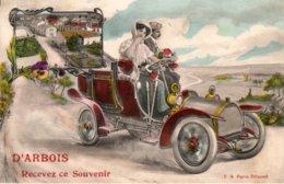 """ARBOIS (Jura) - """"Souvenir"""" Voiture + Vue Générale. Couleurs. Edition E.A. Paris. Non Circulée. TB état. - Arbois"""