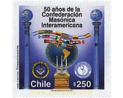 Ref. 204769 * MNH * - CHILE. 1997. 50 YEARS OF THE INTERAMERICAN MASONIC CONFEDERATION . 50 AÑOS DE LA CONFEDERACION M - Flaggen