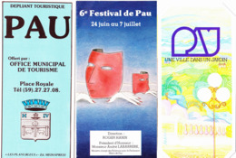 Trois Documents Sur Pau : Plan De La Ville (début Années 1980) - 6e Festival 1982 - Une Ville Dans Un Jardin - Dépliants Touristiques