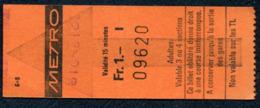 Ticket - Billet Ou Titre De Transport Métro - LAUSANNE - 1 Fr - Codification - Busse