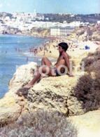 70s BOY BEACH PRAIA ALBUFEIRA ALGARVE PORTUGAL AMATEUR 35mm ORIGINAL NEGATIVE Not PHOTO No FOTO Gay Int - Photographica